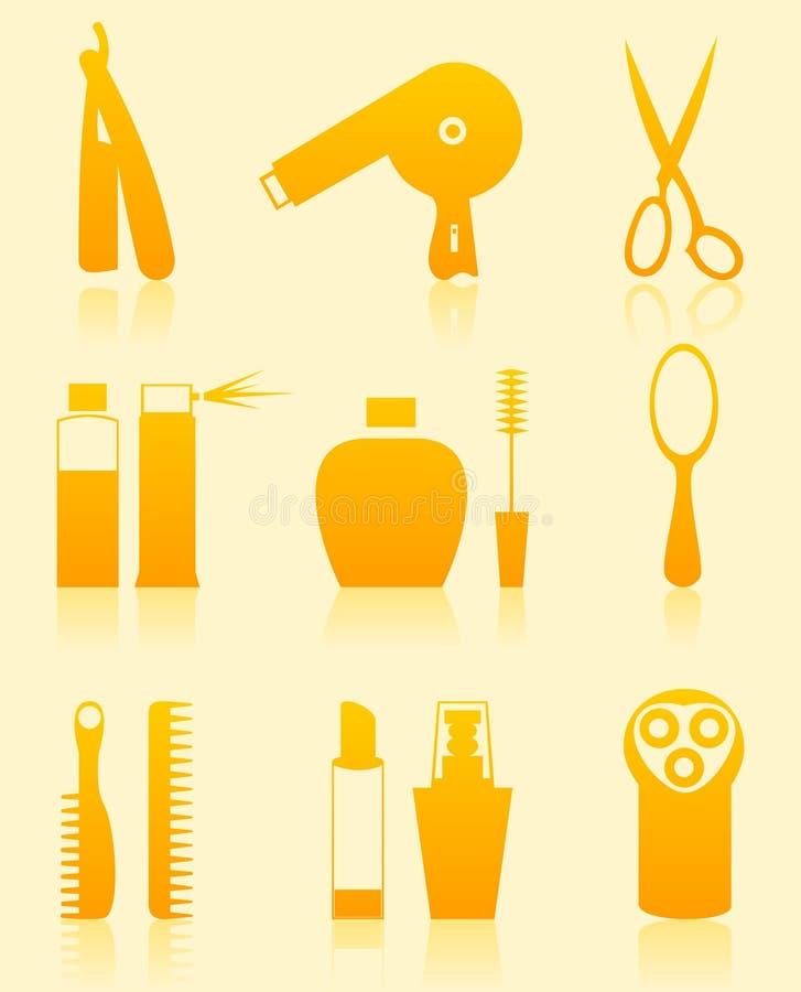 Hairdressing salon icons stock illustration