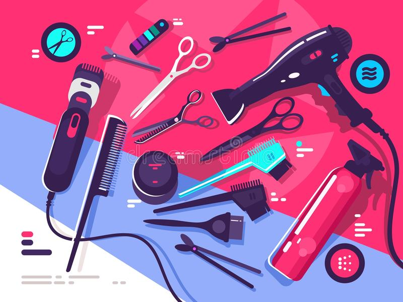 Hairdressing tools, hairbrush and hair dryer stock illustration