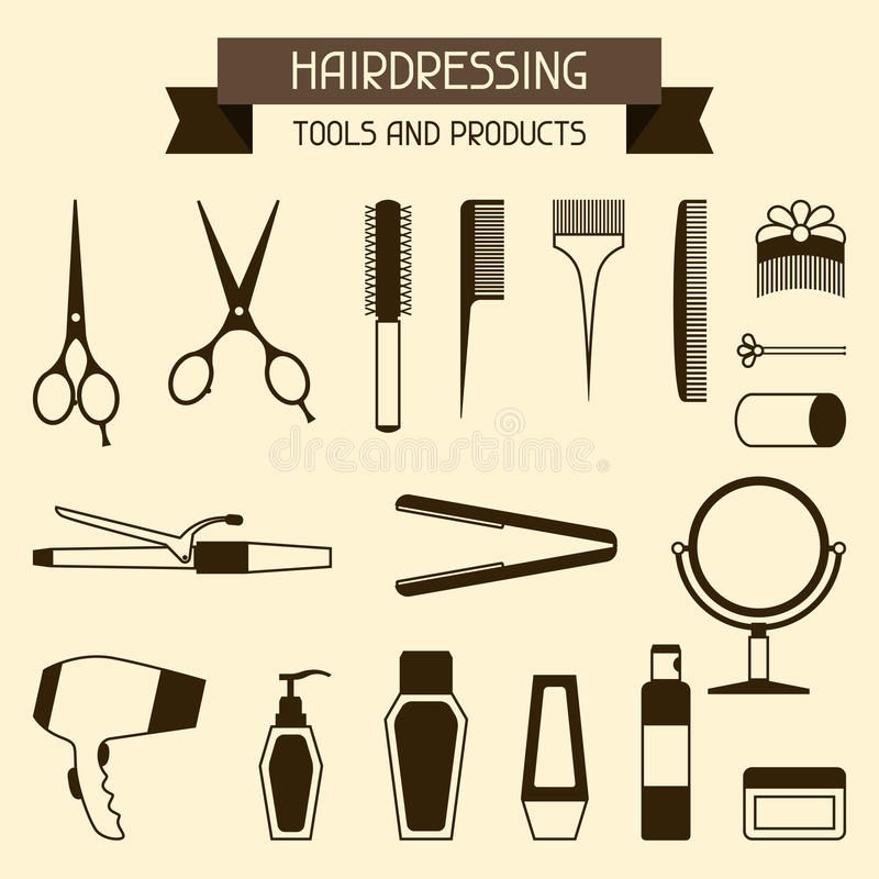 Hairdressing tools and products. Set of hairdressing symbols tools and products