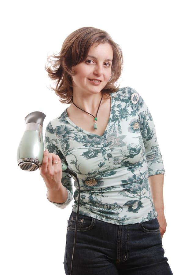 hairdryer απομονωμένη γυναίκα στοκ φωτογραφίες