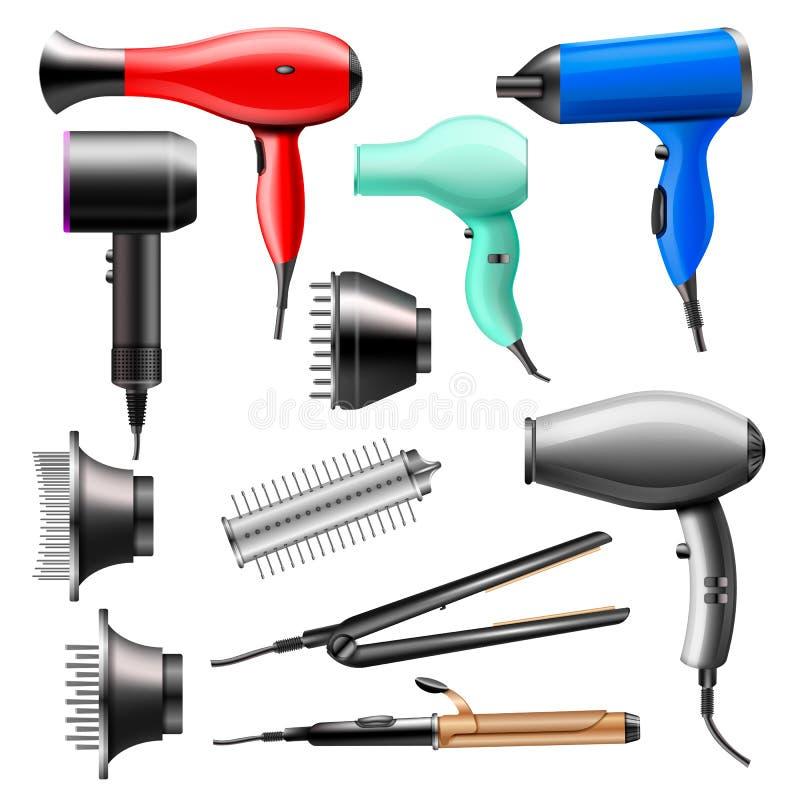 Hairdryer de la moda del vector del secador de pelo del peluquero a hacer el brushing y sistema eléctrico de la belleza del ejemp libre illustration