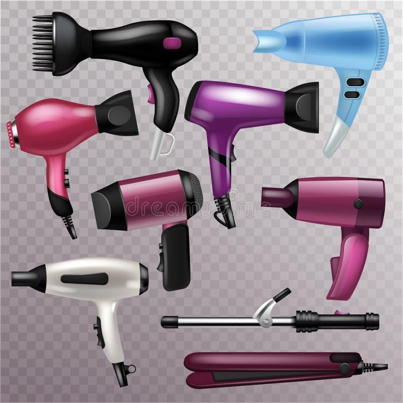 Hairdryer de la moda del vector del secador de pelo del peluquero a hacer el brushing y sistema eléctrico de la belleza del ejemp ilustración del vector