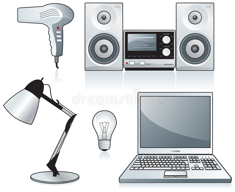 Hairdryer, estereofonia, computadora portátil ilustración del vector