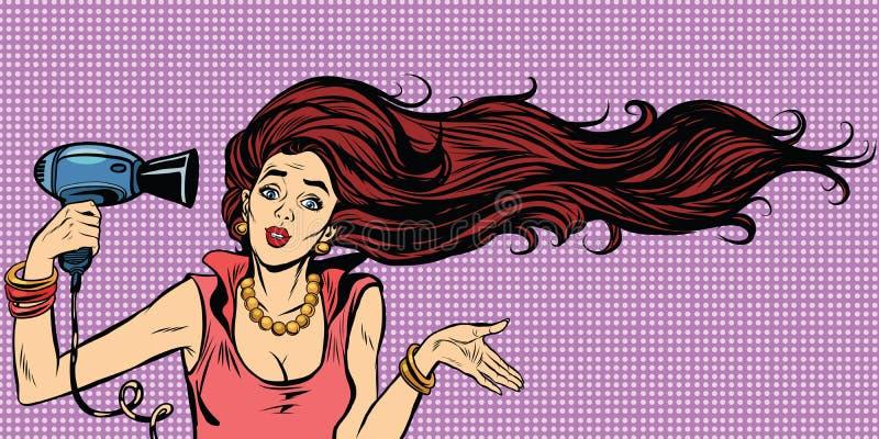 Hairdryer femenino joven del cabello seco stock de ilustración