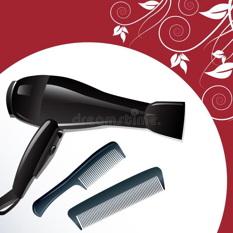 Hairdryer profesional y dos peines stock de ilustración