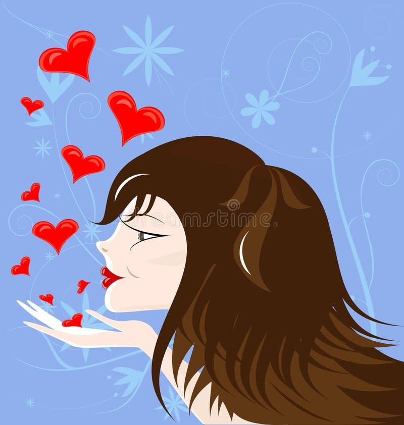 haired brun flicka royaltyfri illustrationer