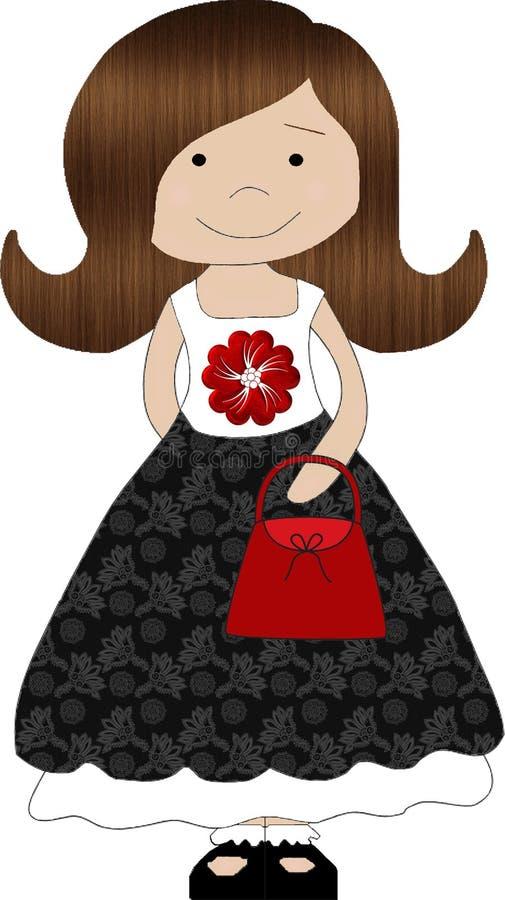 haired brun flicka little vektor illustrationer