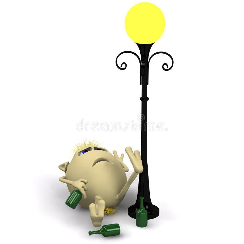 Download Haired Drunkard Puppet Sleep Near Metal Latern Stock Illustration - Image: 20362765