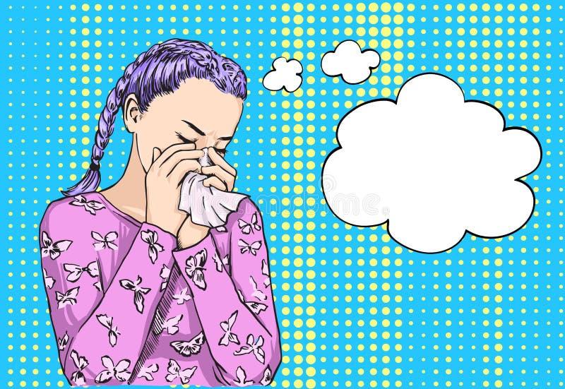 Haired flicka för härliga blonda grupper som nyser blåsa näsan på silkespapper på grund av vårallergi eller gråt Vektorn skissar vektor illustrationer