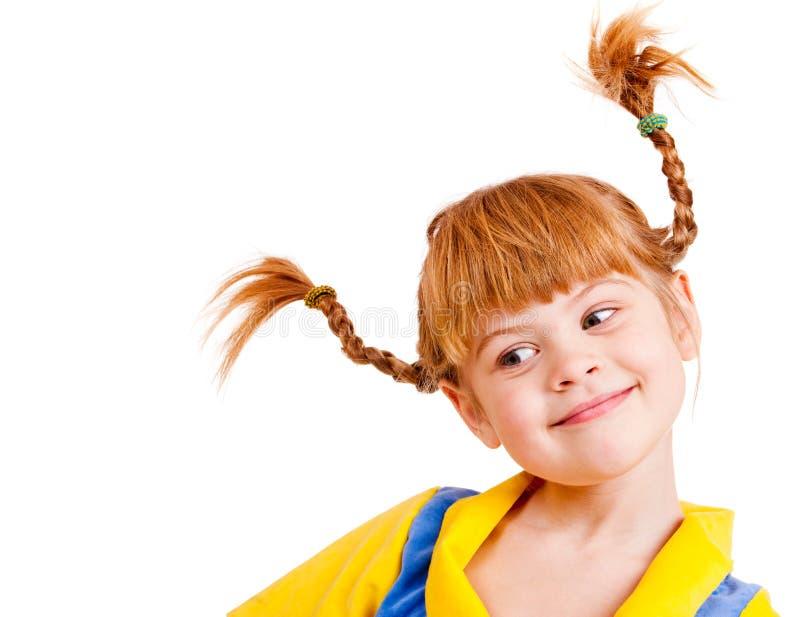 haired flicka little som är röd royaltyfri foto