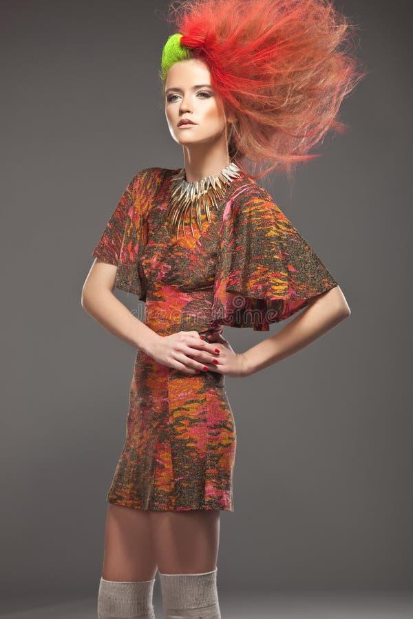 haired kvinna för färg royaltyfria bilder