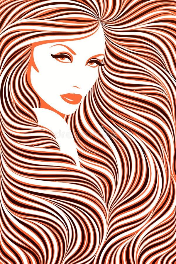 haired långt för flicka royaltyfri illustrationer