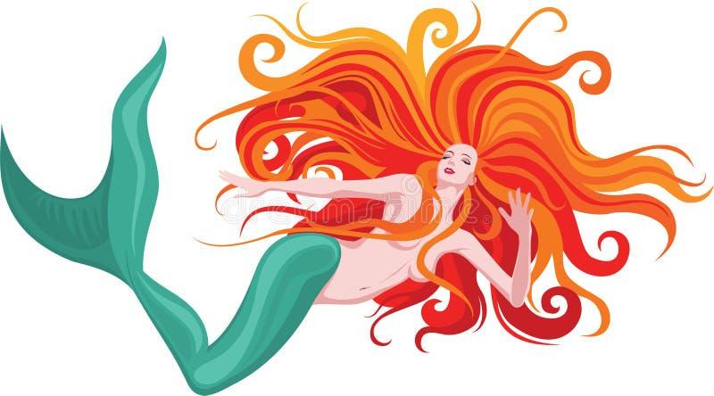 haired mermaidred royaltyfri illustrationer