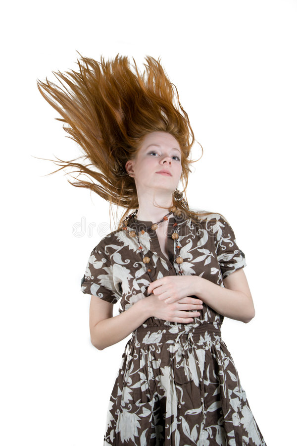 haired röd kvinna royaltyfri foto