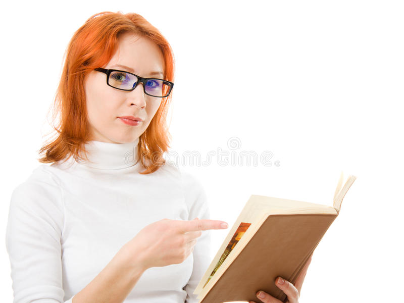 haired red för attraktiva bokflickaexponeringsglas royaltyfri fotografi