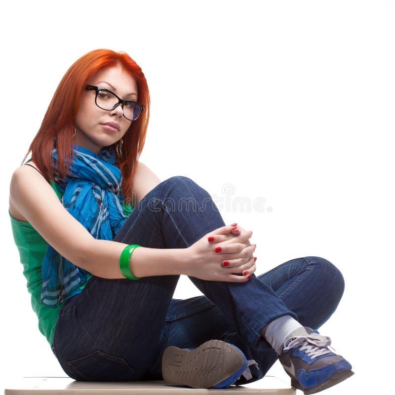 haired red för flicka royaltyfri fotografi