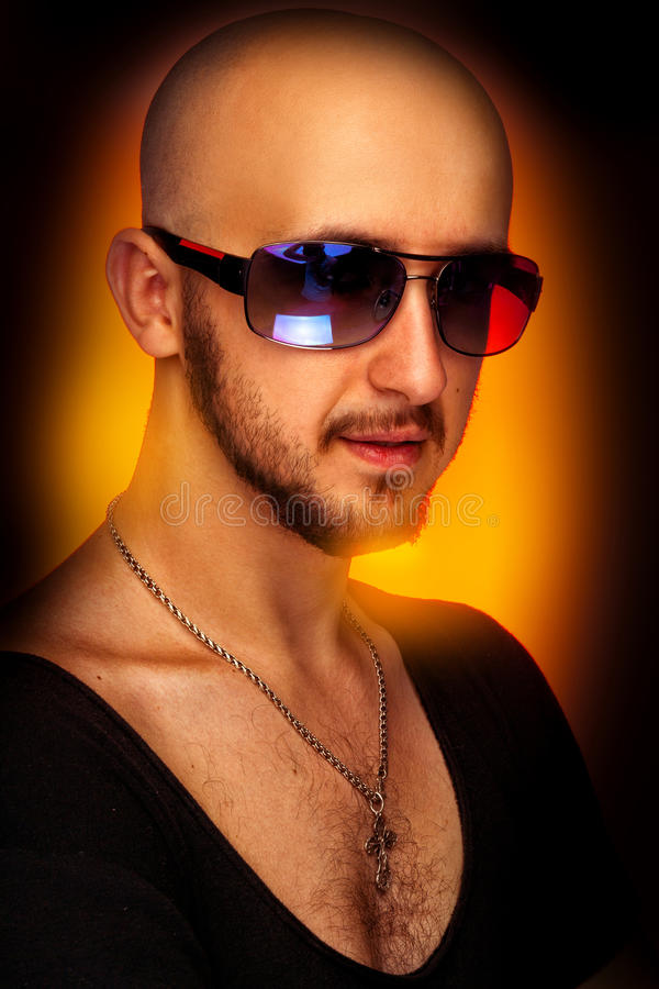 Download Hairless Male In Sunglasses Looking At Camera Stock Photo - Image: 41735671