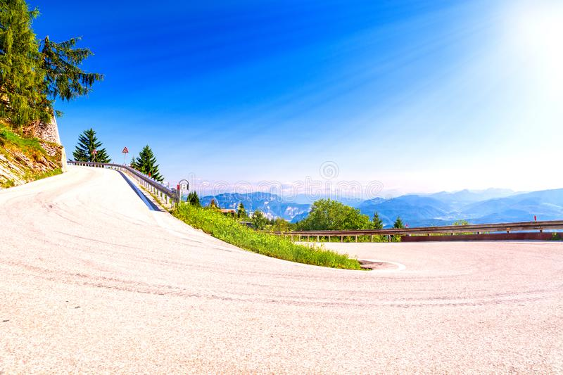 Hairpin curve on mountain road royalty free stock images