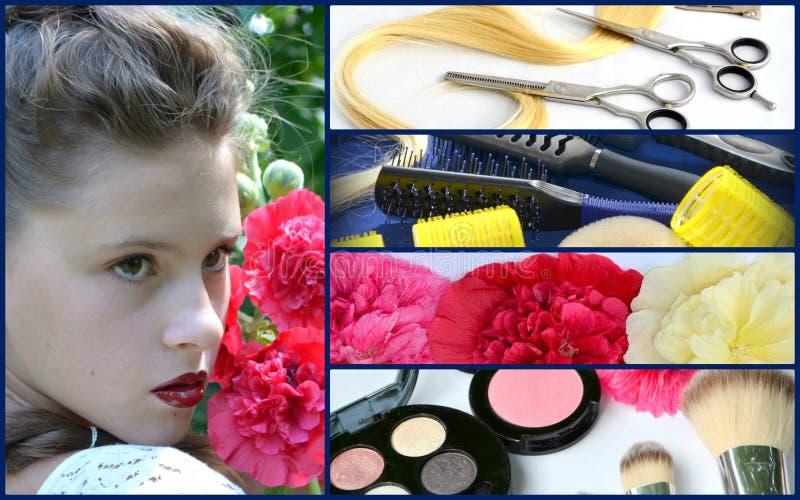Hairstyle για μακρυμάλλη και mallow, κολάζ στοκ εικόνες