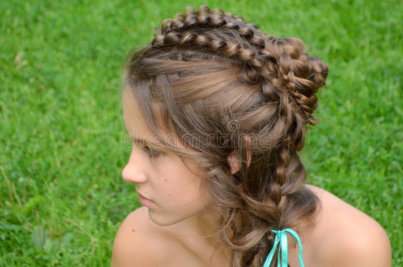 Hairstyle με μακρυμάλλη στοκ φωτογραφία
