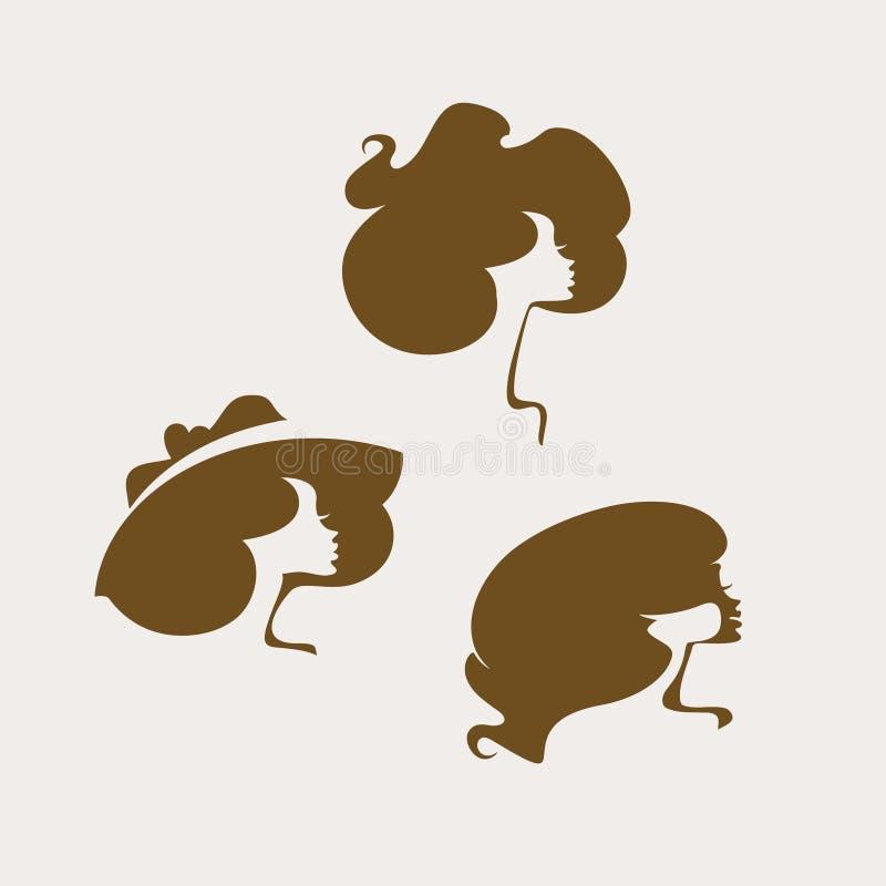 hairstyle Установите 3 силуэтов женских голов вектора Женщина в широкой наполненной до краев шляпе t бесплатная иллюстрация