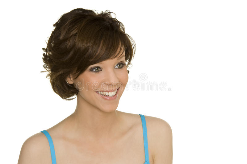 Hairstyle. Beautiful woman with perfect hairstyling stock photo