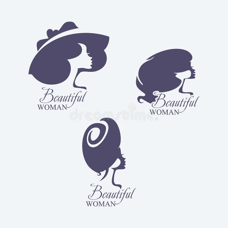 hairstyle Ajuste de três silhuetas das cabeças fêmeas do vetor Mulher em um chap?u brimmed largo fashionable ilustração stock
