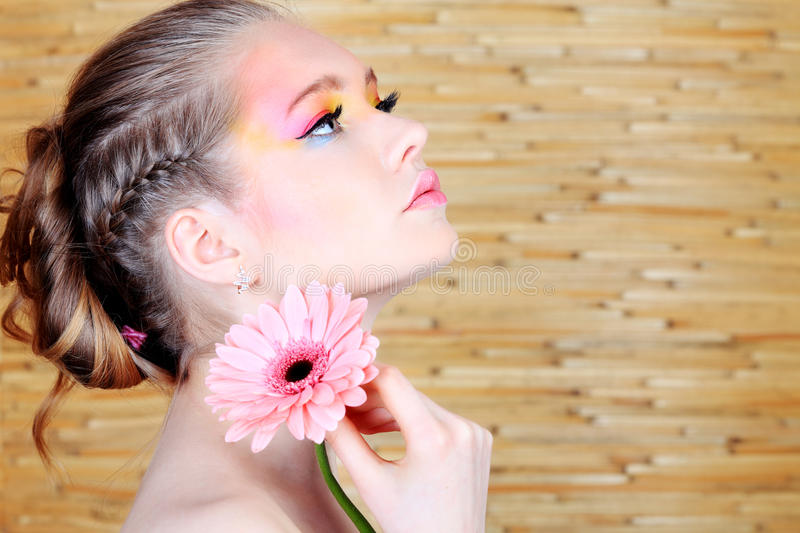 Hairstyle with braid. Portrait of a styled professional model. Theme: healthcare, beauty, fashion stock images