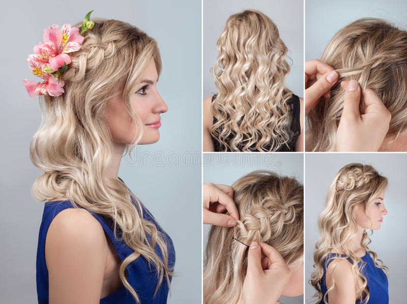 Hairstyle braid with fresh flowers tutorial. Simple braid hairstyle with curly hair tutorial. Romantic evening hairstyle for long hair. Blond model hairstyle for royalty free stock image