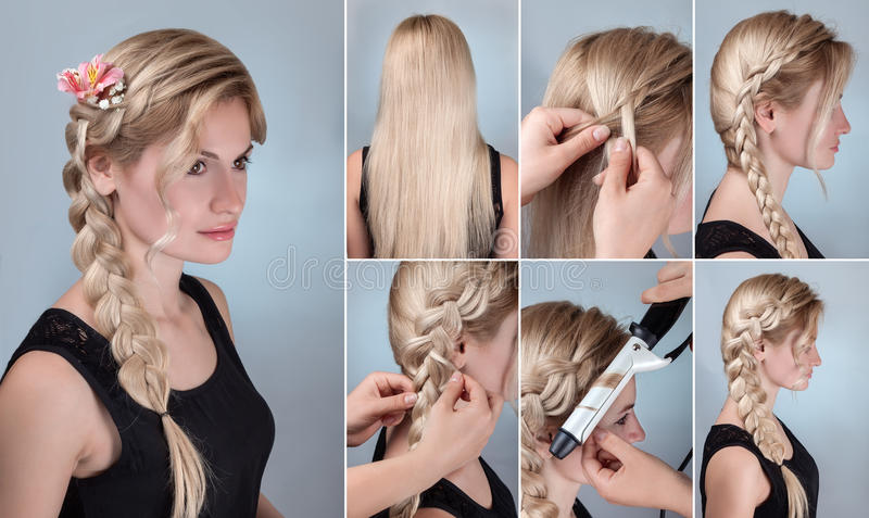 Hairstyle braid with natural flowers tutorial. Simple braid hairstyle tutorial. Romantic evening hairstyle for long hair. Blond model with braid hairstyle with stock photos