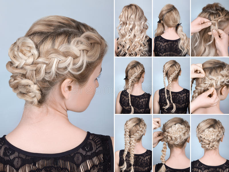 Hairstyle braid tutorial. Hairstyle braid on blonde model tutorial. Hairdo for long hair stock photos