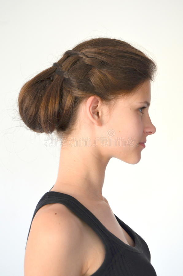 Hairstyle braiding on medium length royalty free stock photo
