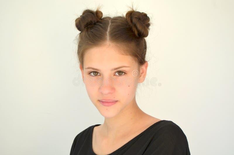 Hairstyle braiding on medium length royalty free stock photos