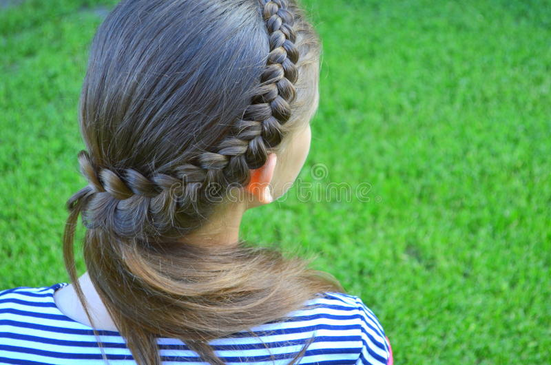 Hairstyle with braids. Girl with Hairstyle with French braids royalty free stock photography