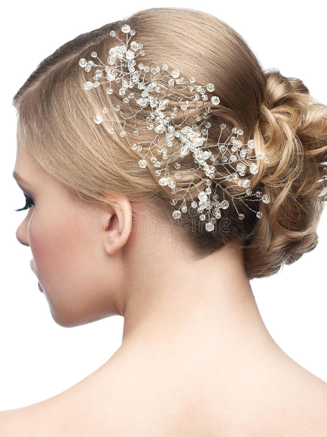 Hairstyle with hair accessory stock photography
