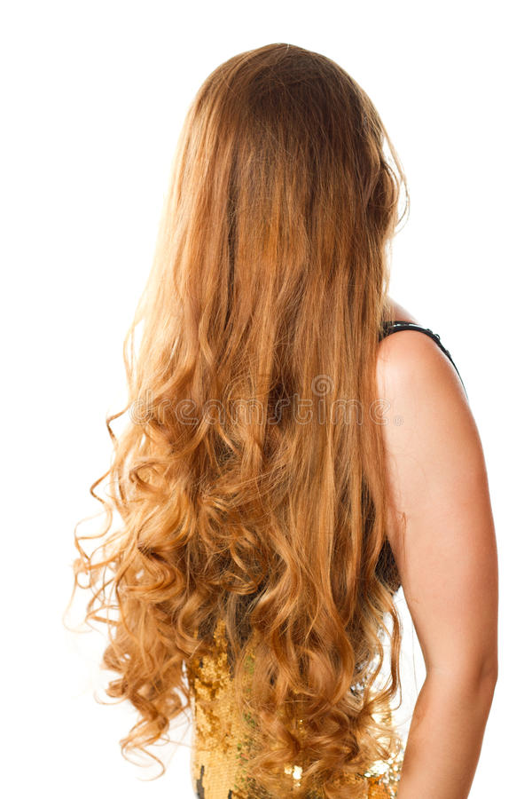 Hairstyle from long curly hair stock photography