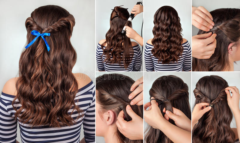 Hairstyle For Long Curly Hair Tutorial Stock Image - Image of photo ...