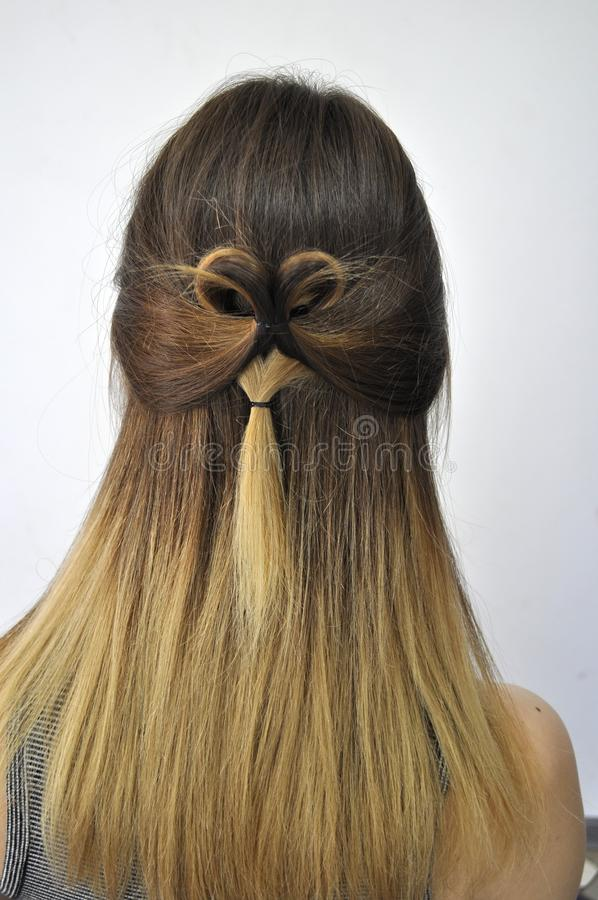 Hairstyle on long hair royalty free stock image