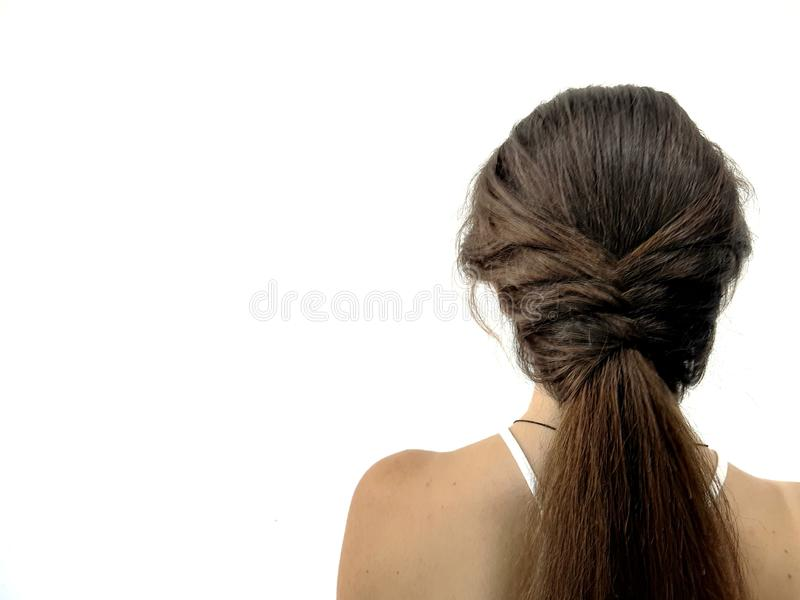 Hairstyle on long hair, braiding royalty free stock images