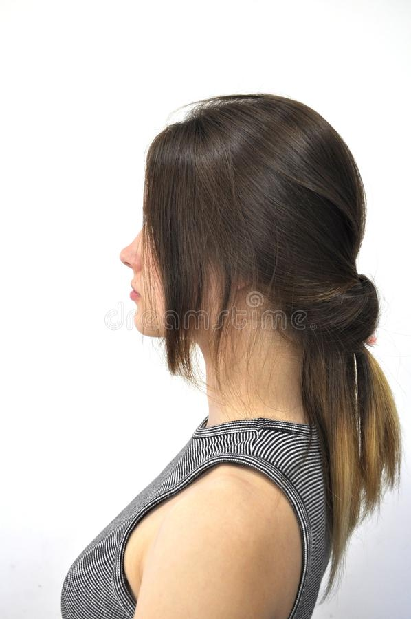 Hairstyle on long hair royalty free stock photo