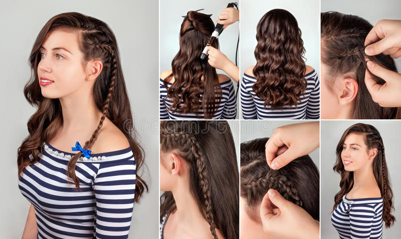 One Side Hairstyle On Curly Hair Tutorial For Long Sea Style