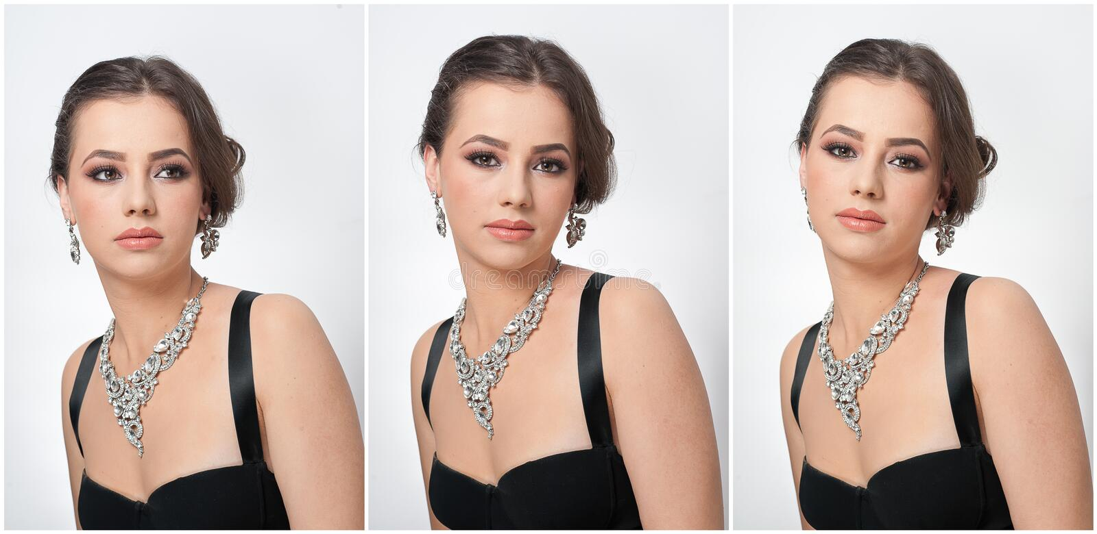 Hairstyle and make up - beautiful female art portrait with beautiful eyes. Elegance. Genuine natural brunette with jewelry royalty free stock photography