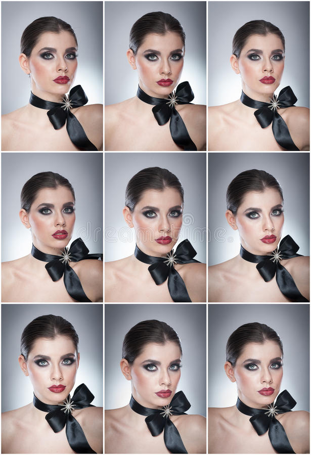 Hairstyle and Make up - beautiful female art portrait with black ribbon. Elegance. Genuine Natural brunette with ribbon - studio. Shot. Portrait of a attractive royalty free stock photography