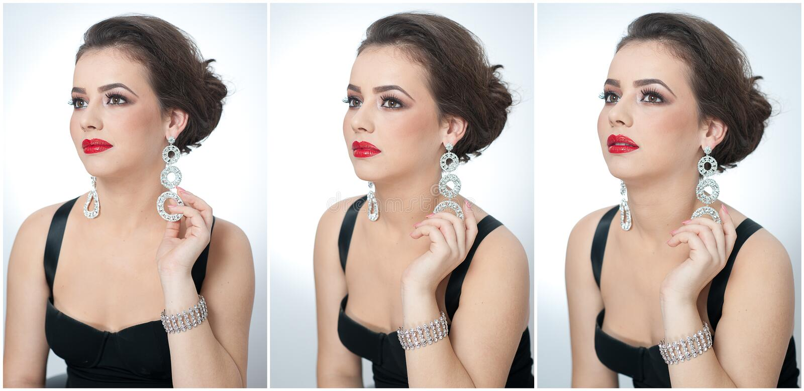 Hairstyle and make up - beautiful female art portrait with earrings. Elegance. Genuine natural brunette with jewelry royalty free stock photos