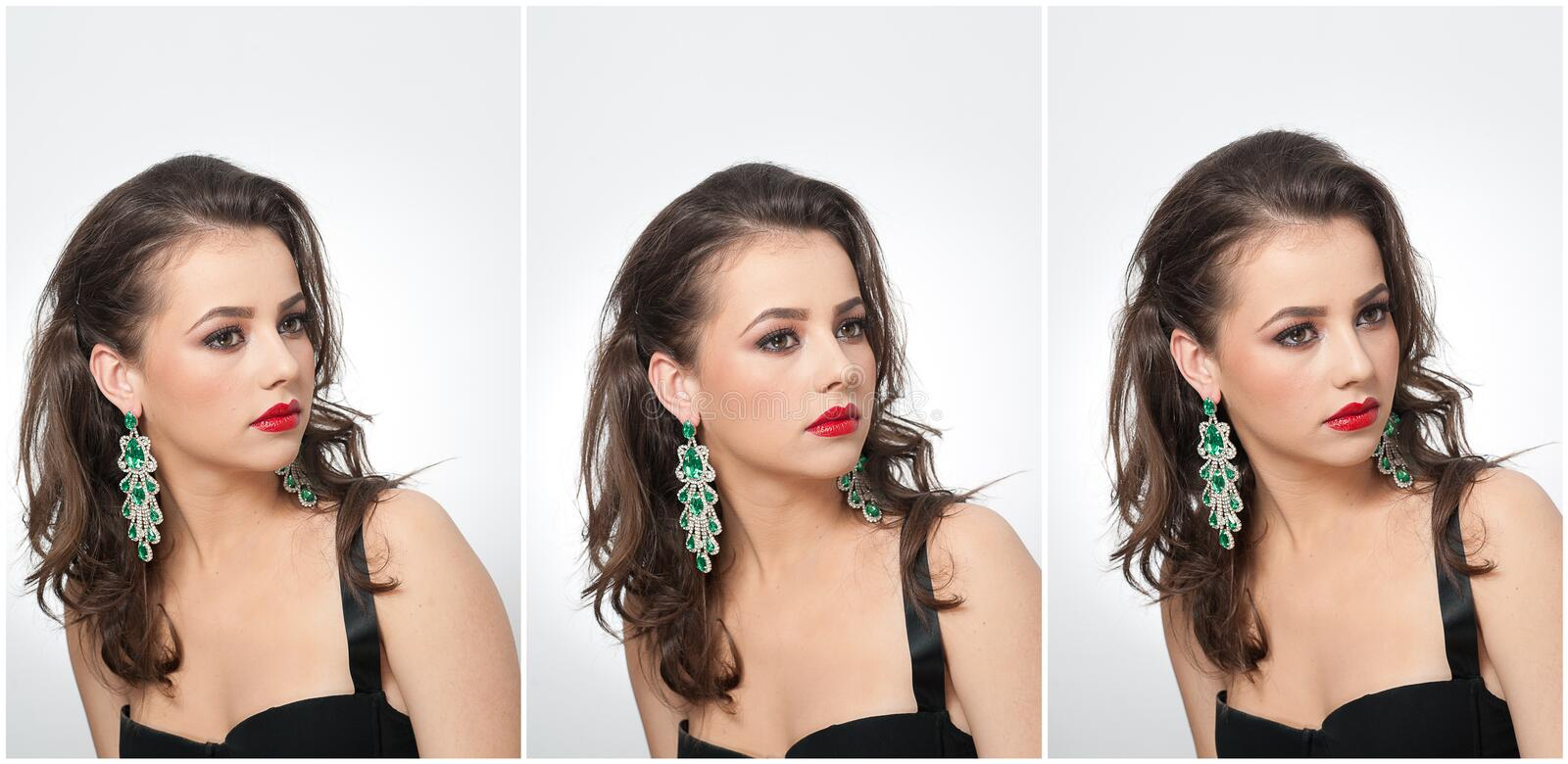 Hairstyle and make up - beautiful female art portrait with earrings. Elegance. Genuine natural brunette with jewelry royalty free stock photography