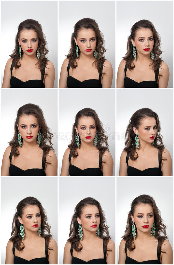 Hairstyle and make up - beautiful female art portrait with earrings. Elegance. Genuine natural brunette with jewelry stock image
