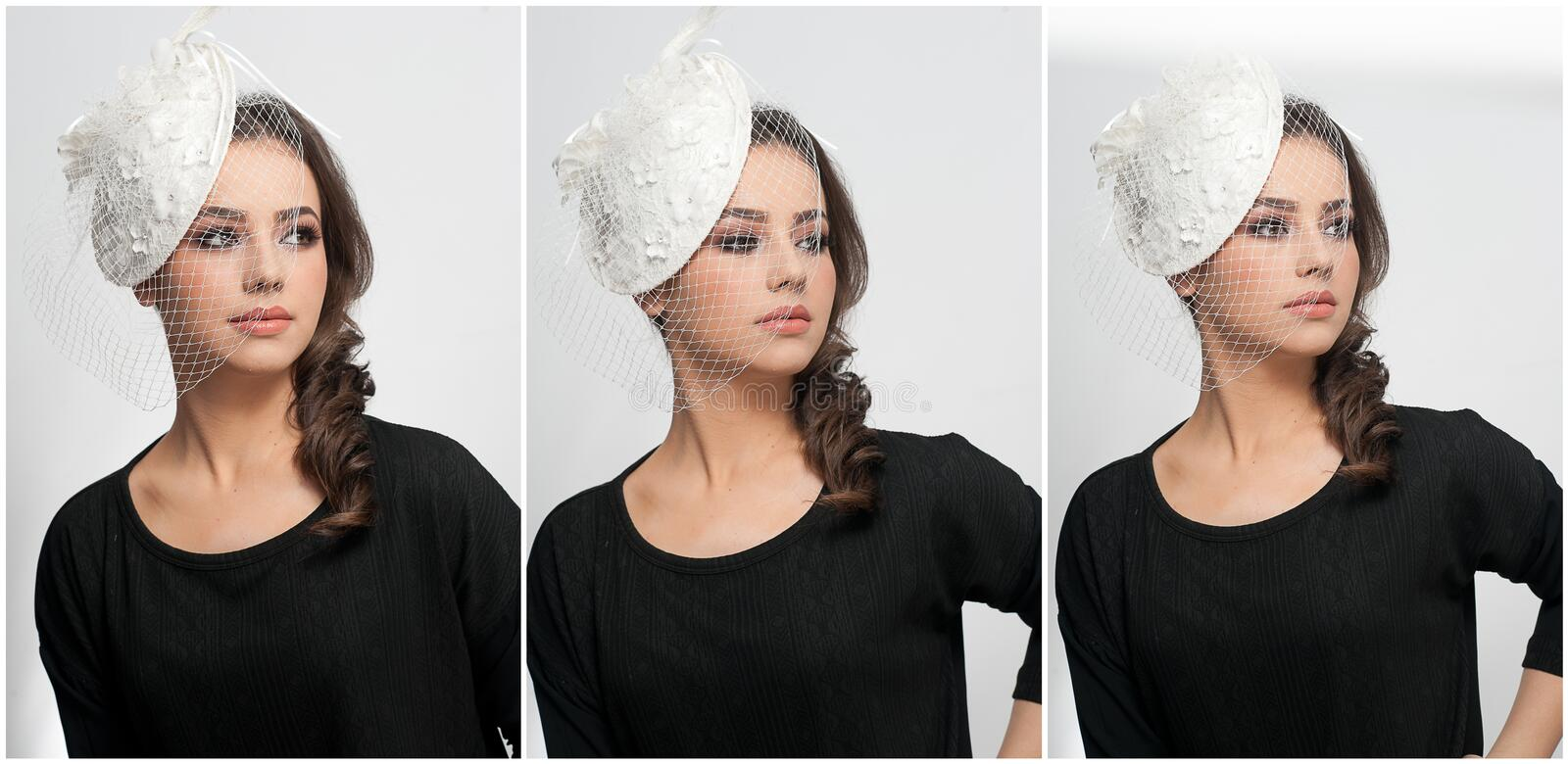 Hairstyle and make up - beautiful young girl art portrait. Cute brunette with white cap and veil, studio shot. Attractive female stock image