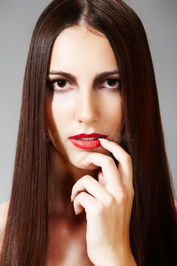 Download Hairstyle & Make-up. Model With Shiny Long Hair Stock Photo - Image of femininity, direct: 15638294