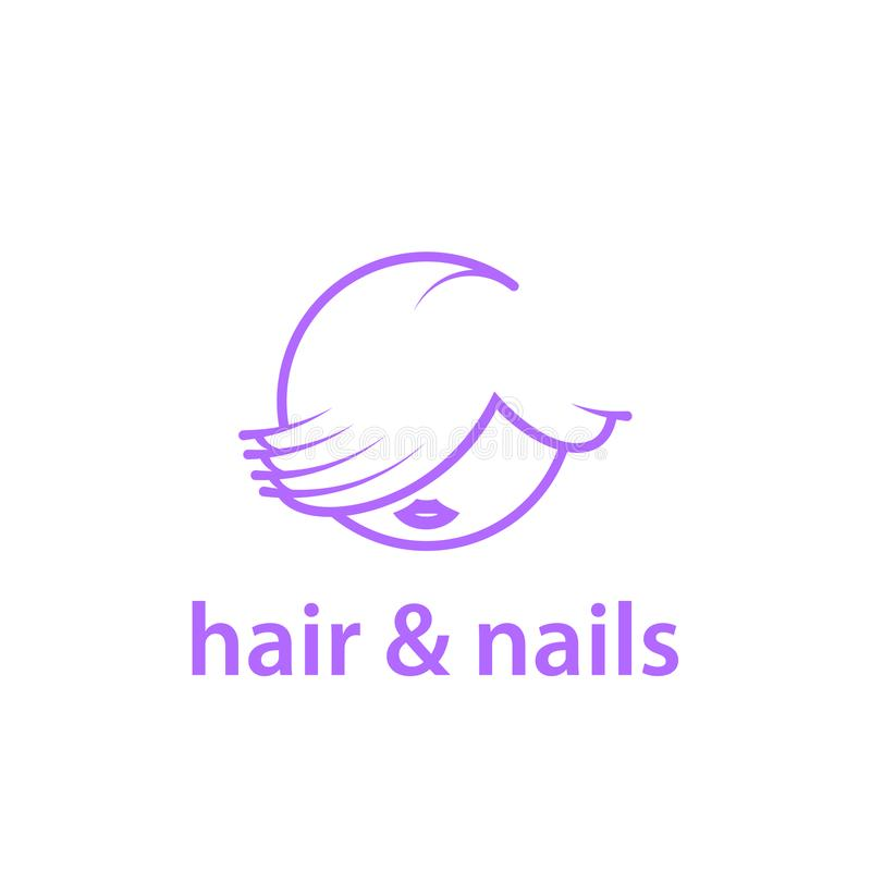 Hairstyle and nails studio linear logo template. vector illustration