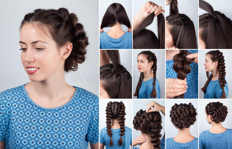 Download Hairstyle Plaits For Long Hair Tutorial Stock Photo   Image Of Easy,  Hairdo: